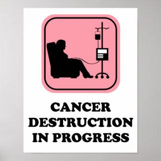 Poster en curso de la destrucción del cáncer póster