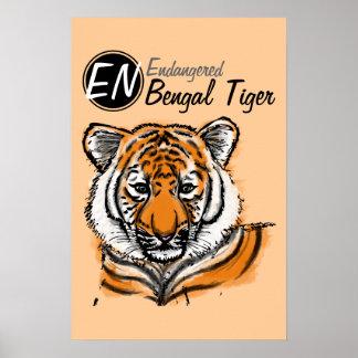 Poster en peligro del tigre el   del   Bengala