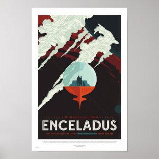 Póster Enceladus - poster retro del viaje de la NASA
