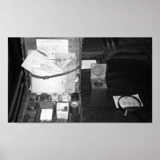 Póster Equipo blanco y negro de la huella dactilar de la