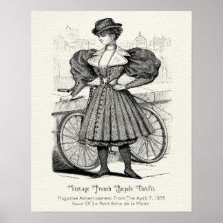Póster Equipo francés 1895 de la bicicleta del vintage