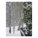 Póster Escena de la nieve con el poster viejo de la luz d