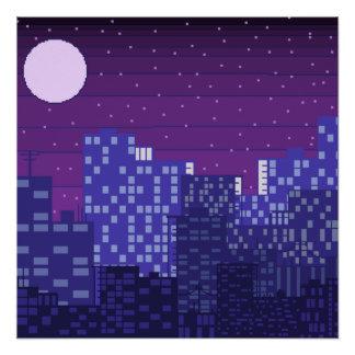 Póster Escena de la noche de la ciudad del pixel