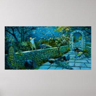 Póster Escena de la noche en poster del jardín del pavo