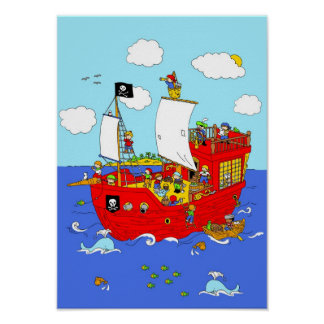 Póster Escena del barco pirata
