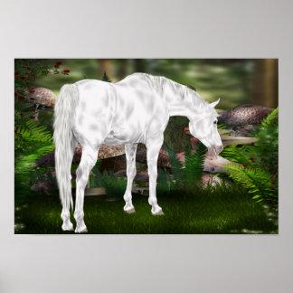 Póster Escena imponente de la fantasía del caballo blanco