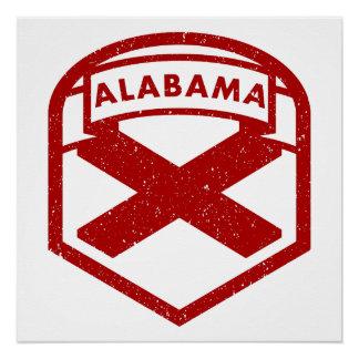 Póster Escudo de la bandera del estado de Alabama