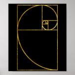 Póster Espiral sagrado de Fibonacci del coeficiente de