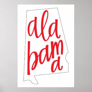 Póster Esquema del estado de Alabama