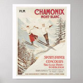 Póster Esquí de Chamonix Francia