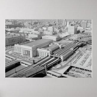 Póster Estación de la calle del ferrocarril de