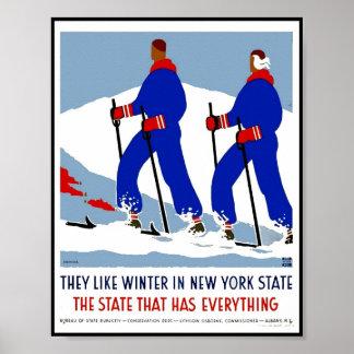 Póster Estado de Nuevo York retro del viaje de la imagen