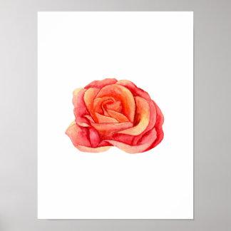Póster Estampado de flores color de rosa. Pintura floral