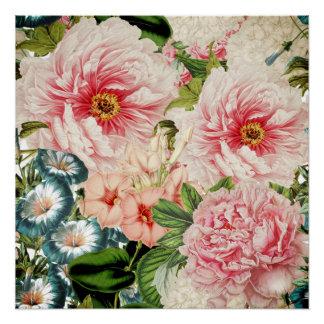 Póster Estampado de flores retro de la primavera de la