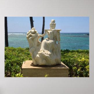 Póster Estatua de la mujer que toca la flauta, Waikoloa,