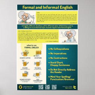 Póster Estilo formal e informal en inglés