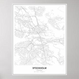 Póster Estocolmo, Suecia, poster minimalista del mapa