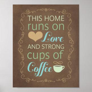 Póster Estos home run en amor y tazas de café fuertes