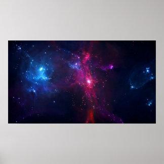 Póster Estrellas y nebulosa cósmicas del espacio