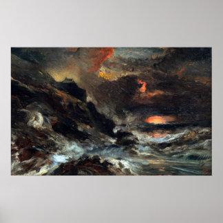Póster Eugène Isabey una tormenta de la costa de