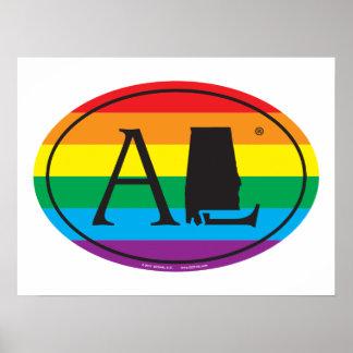 Póster Euro del orgullo del estado de LGBT: AL Alabama