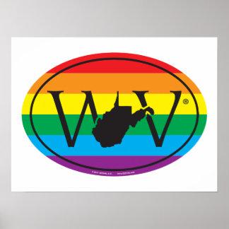 Póster Euro del orgullo del estado de LGBT: WV Virginia