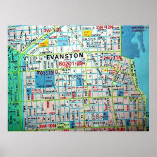 Póster EVANSTON, poster del mapa del vintage de IL