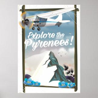 Póster Explore las montañas del europeo de los Pirineos
