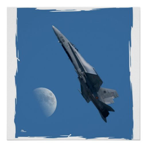 Póster F-18 y luna