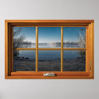 Póster Falsa ilusión de madera de la ventana - opinión
