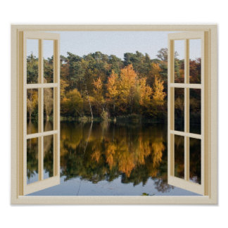 Póster Falsa opinión de la ventana del lago reflexivo