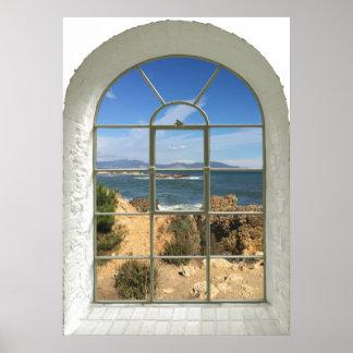 Póster Falsa ventana de la playa rocosa