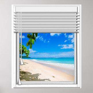 Póster Falsa ventana de la vista al mar tropical con las