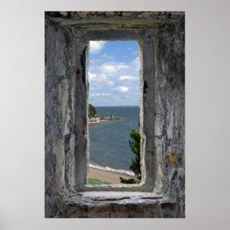 Póster Falsa ventana - escúdese la mirada hacia fuera en