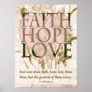 Póster Fe, esperanza y amor