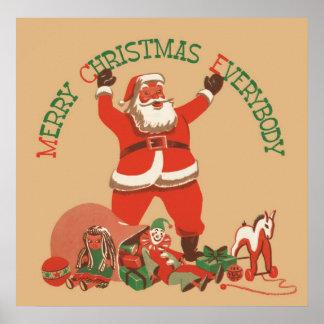 Póster ¡Felices Navidad todos! Vintage Papá Noel