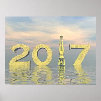 Póster Feliz Año Nuevo 2017 del zen - 3D rinden