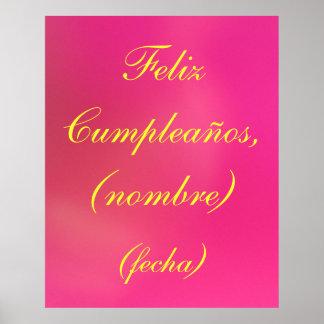 Póster - Feliz Cumpleaños (nombre) - Rosa Posters