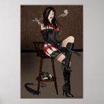 Póster Femme Fatale Femdom - el fumar y armas