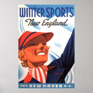 Póster Ferrocarril de Nueva Inglaterra New Haven de los