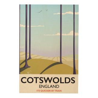 Poster ferroviario del viaje del paisaje de impresión en madera