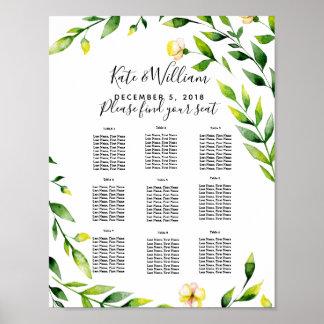 Póster fiesta/boda florales del plan de la tabla del boda