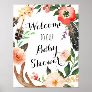 Póster Fiesta de bienvenida al bebé de Boho, poster