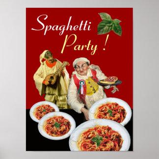 Póster FIESTA de los ESPAGUETIS, cocina italiana,