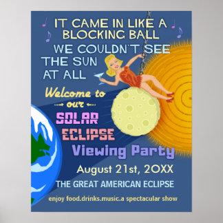 Póster Fiesta Sun retro divertido del eclipse solar que