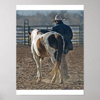 Póster Fijar cow boy caballo