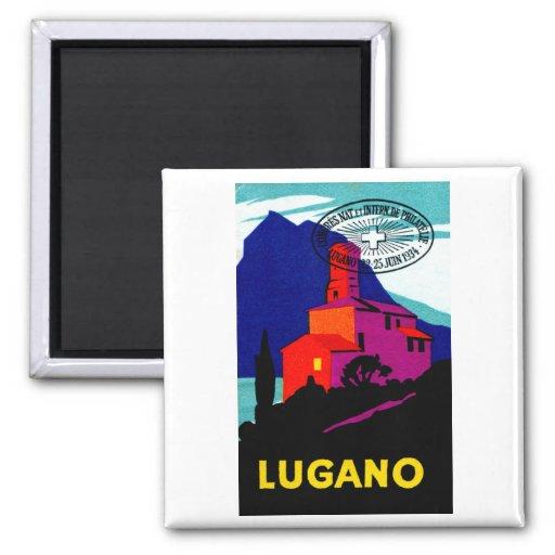 Poster filatélico 1934 de Lugano Imán