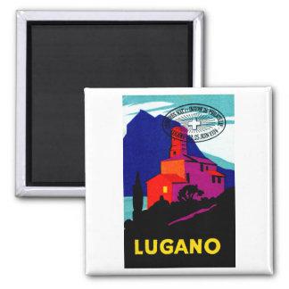 Poster filatélico 1934 de Lugano Imán Cuadrado