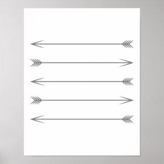 Póster Flechas gris oscuro mínimas