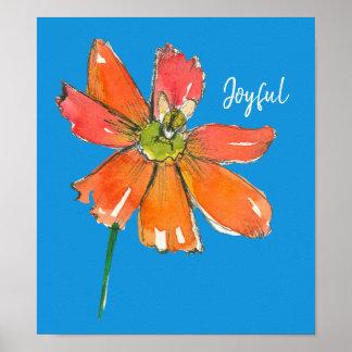 Póster Flor alegre de la margarita anaranjada de la abeja